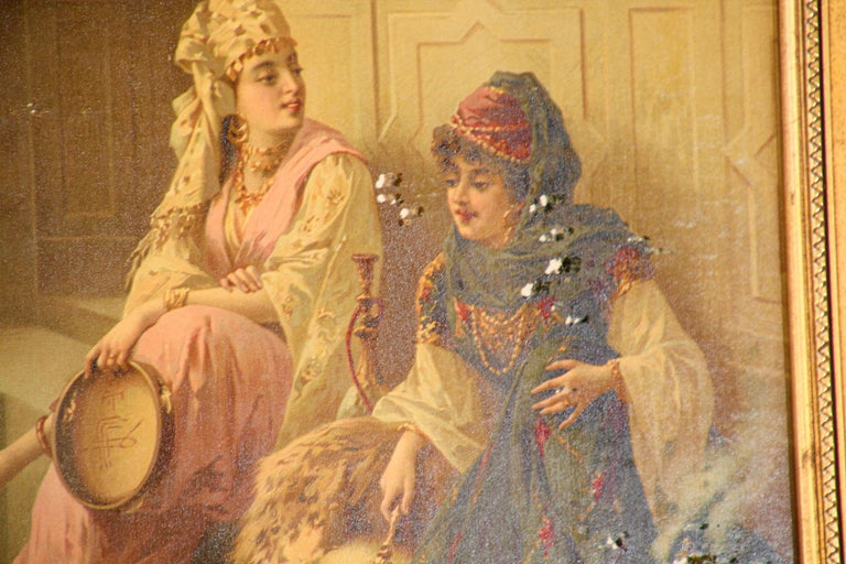 Orientalist Gravure Scene of Turkish Women Dancing in the Harem, Luigi Crosio For Sale 1