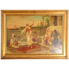 Orientalist Gravure Scene of Turkish Women Dancing in the Harem, Luigi Crosio