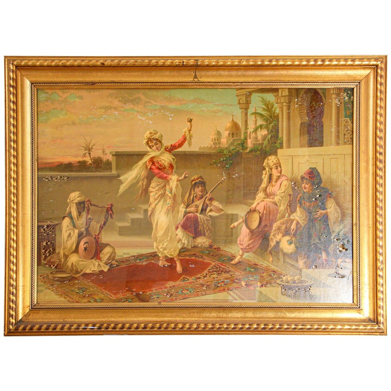 Orientalist Gravure Scene of Turkish Women Dancing in the Harem, Luigi Crosio For Sale
