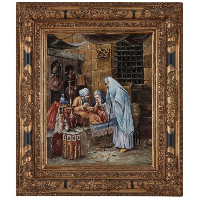 Orientalist KPM Porcelain Plaque of Interior Scene For Sale