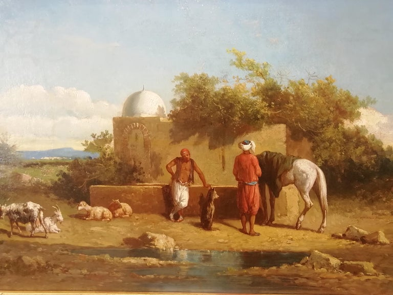 Orientalist Landscape Oasis, Theodore Gerard Oil 19 Century Orientalism Painting In Good Condition For Sale In Rome, Italy
