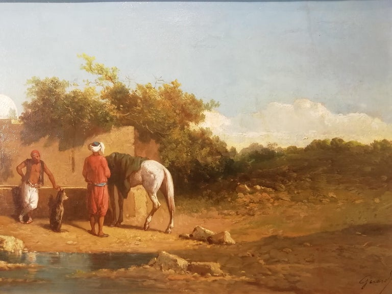 1860s Orientalist Landscape Oasis, Theodore Gerard Oil 19 Century Orientalism Painting For Sale