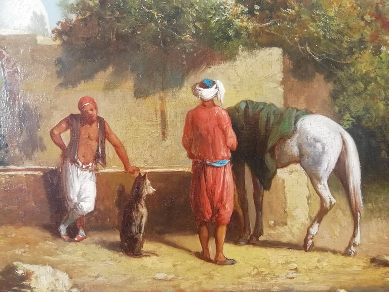 Orientalist Landscape Oasis, Theodore Gerard Oil 19 Century Orientalism Painting For Sale 3