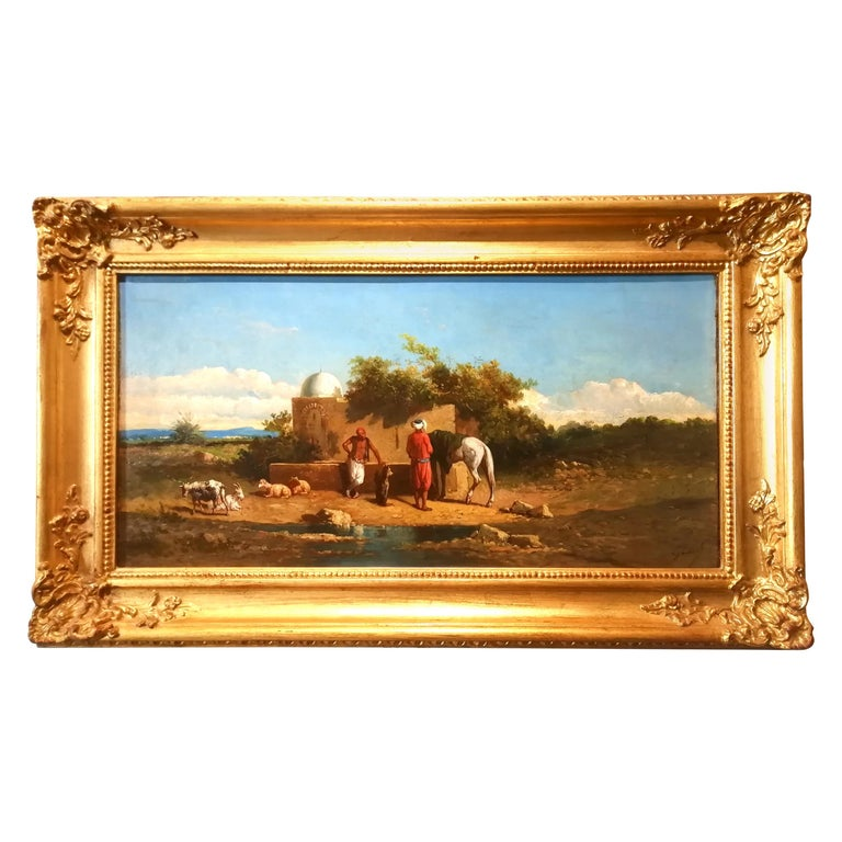 Orientalist Landscape Oasis, Theodore Gerard Oil 19 Century Orientalism Painting For Sale