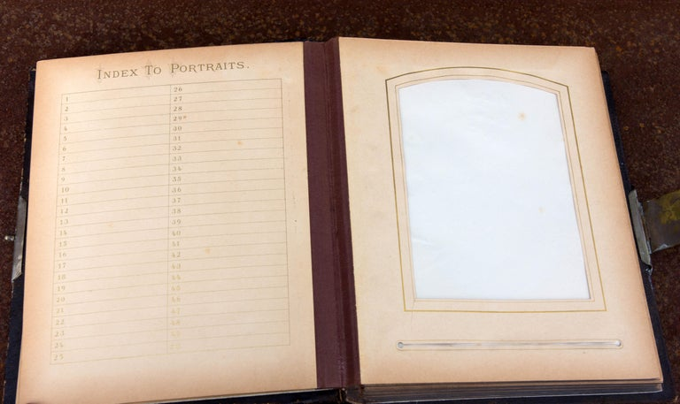Porcelain Orientalist Leather Photograph Album, 19th Century For Sale