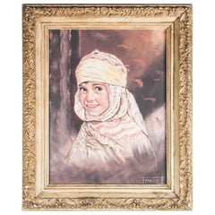 Orientalist Oil on Canvas Portrait of Young Berber Moroccan Girl