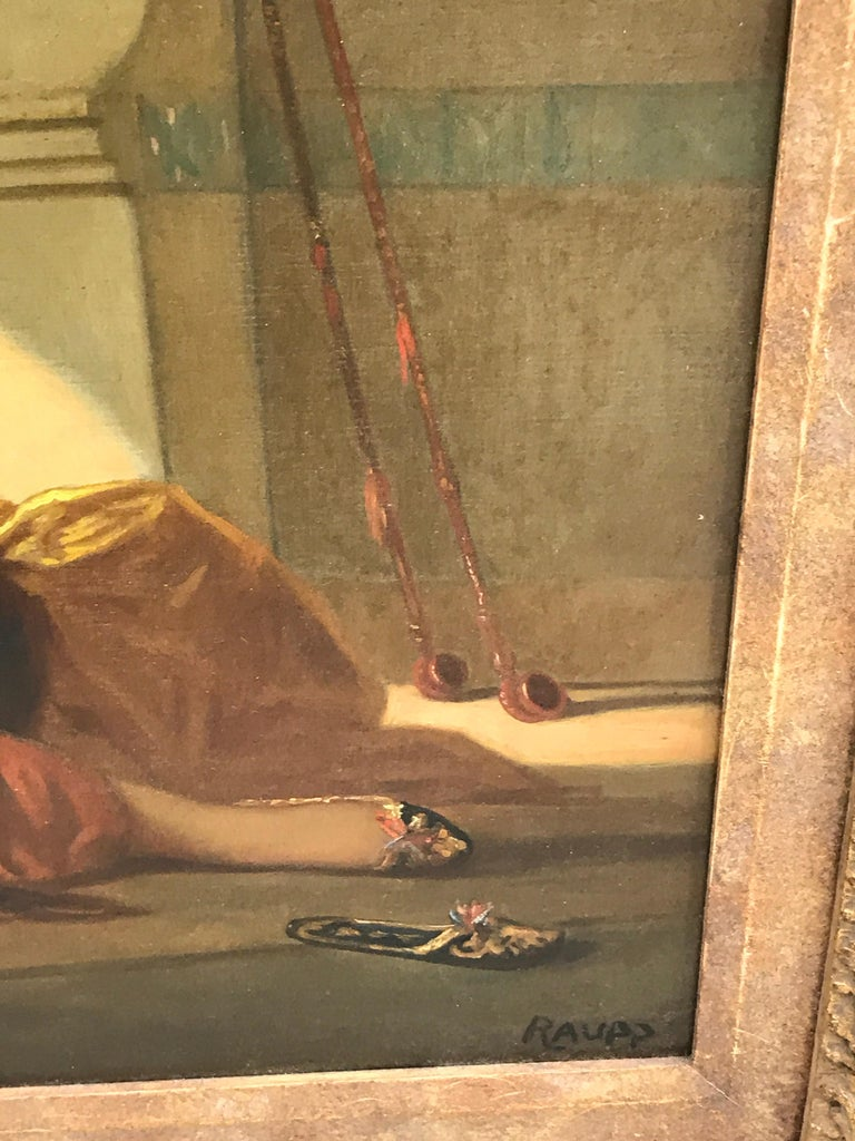 European Orientalist Oil on Canvas, Signed Raupp For Sale