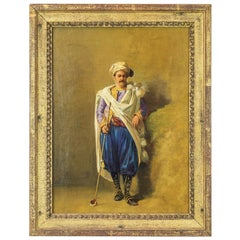 Orientalist Oil Painting of an Ottoman Holding a Tophane Pipe by Charles Bombled