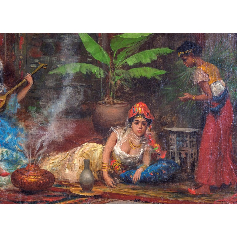 Italian Orientalist Painting Depicting Concubines in the Harem by Fabio Fabbi For Sale