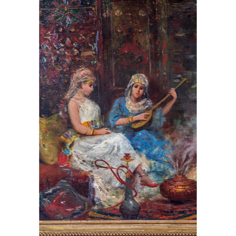 Painted Orientalist Painting Depicting Concubines in the Harem by Fabio Fabbi For Sale