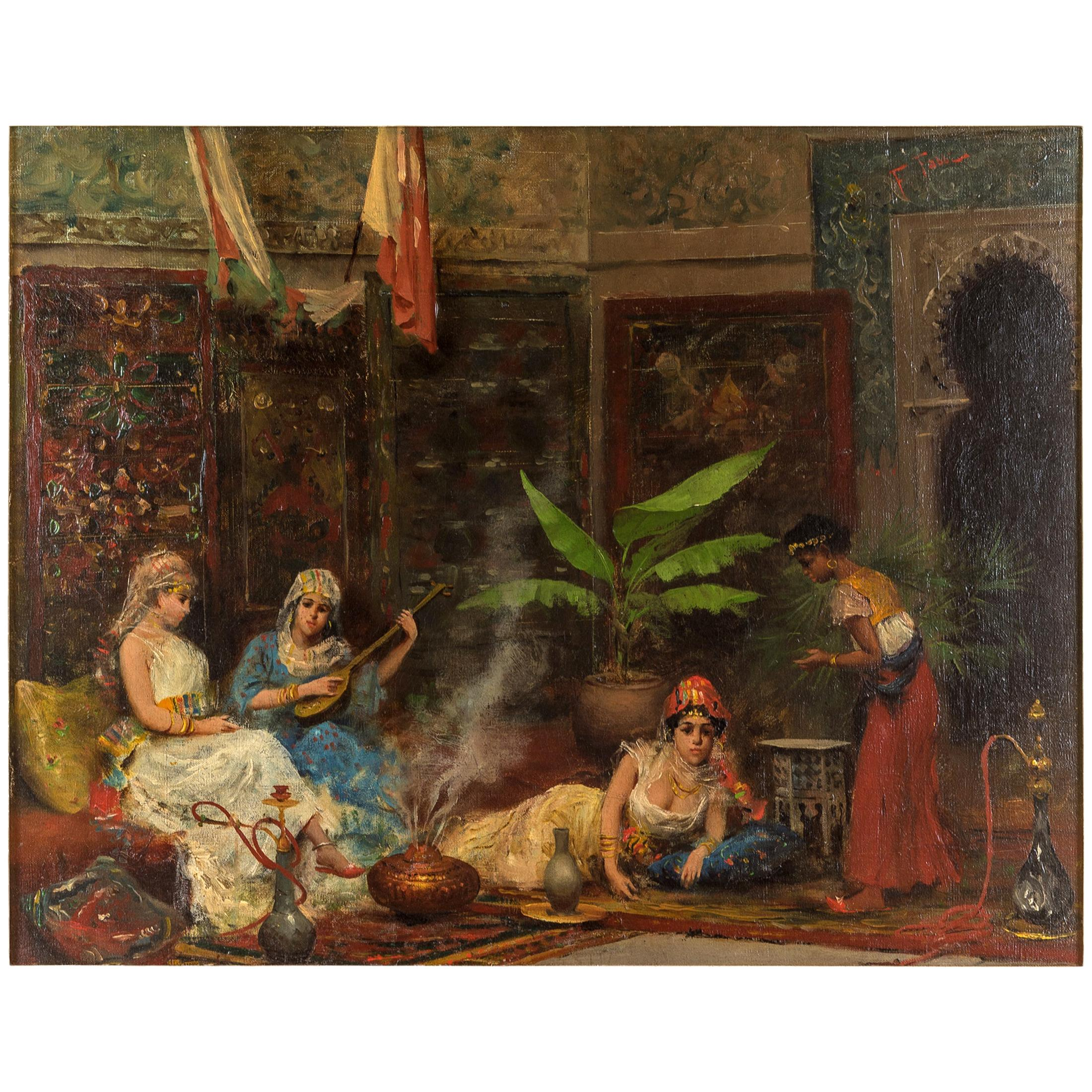 Orientalist Painting Depicting Concubines in the Harem by Fabio Fabbi