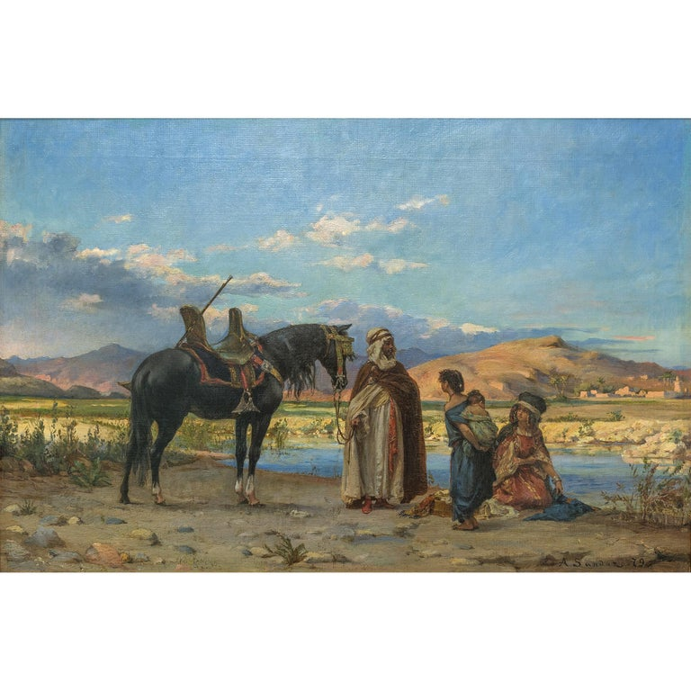 An exquisite orientalist painting entitled 'At the Oasis' by Adolf Karol Sandoz.  Title: At the Oasis Artist: Adolf Karol Sandoz (b. 1845) Origin: Polish Date: circa 1879 Signature: signed and dated 'A. Sandoz .79' (LR) Medium: oil on