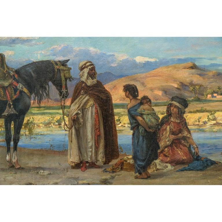 Polish Original Orientalist Painting Entitled 'At the Oasis' by Adolf Karol Sandoz For Sale