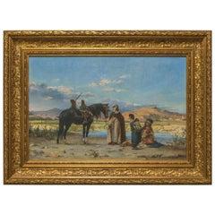 Original Orientalist Painting Entitled 'At the Oasis' by Adolf Karol Sandoz