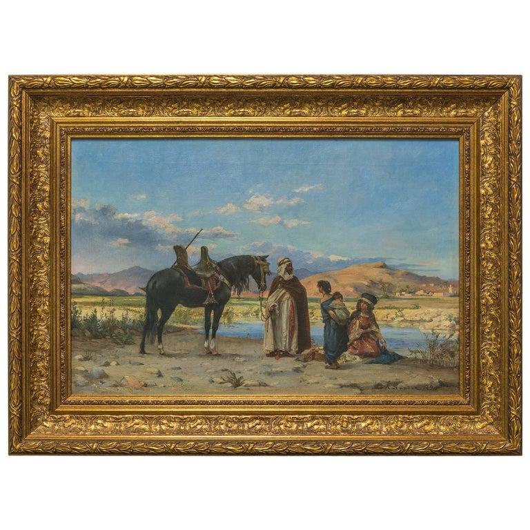 Original Orientalist Painting Entitled 'At the Oasis' by Adolf Karol Sandoz For Sale