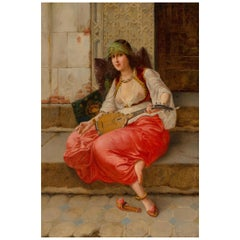 Orientalist Painting of a Harem Girl with a Lute by V. Stiepevich