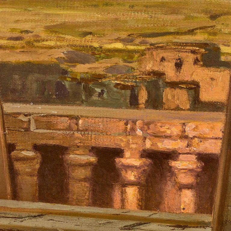 Orientalist Painting of the Temple of Horus at Edfu, by Ernst Karl Koerner, 1888 For Sale 4