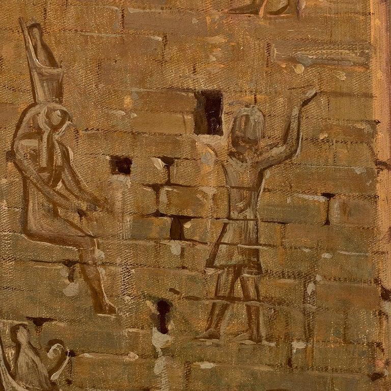 Orientalist Painting of the Temple of Horus at Edfu, by Ernst Karl Koerner, 1888 For Sale 5