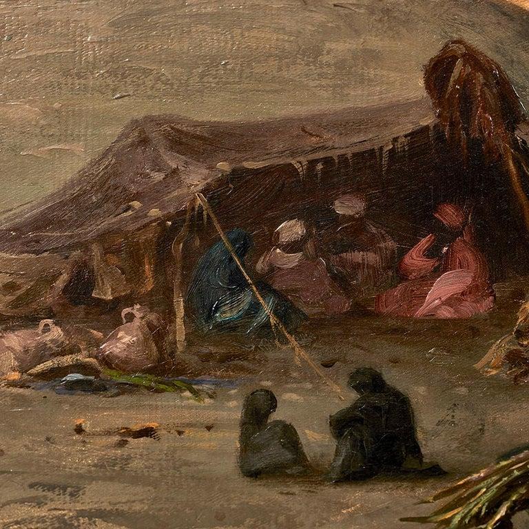 Orientalist Painting of the Temple of Horus at Edfu, by Ernst Karl Koerner, 1888 For Sale 7