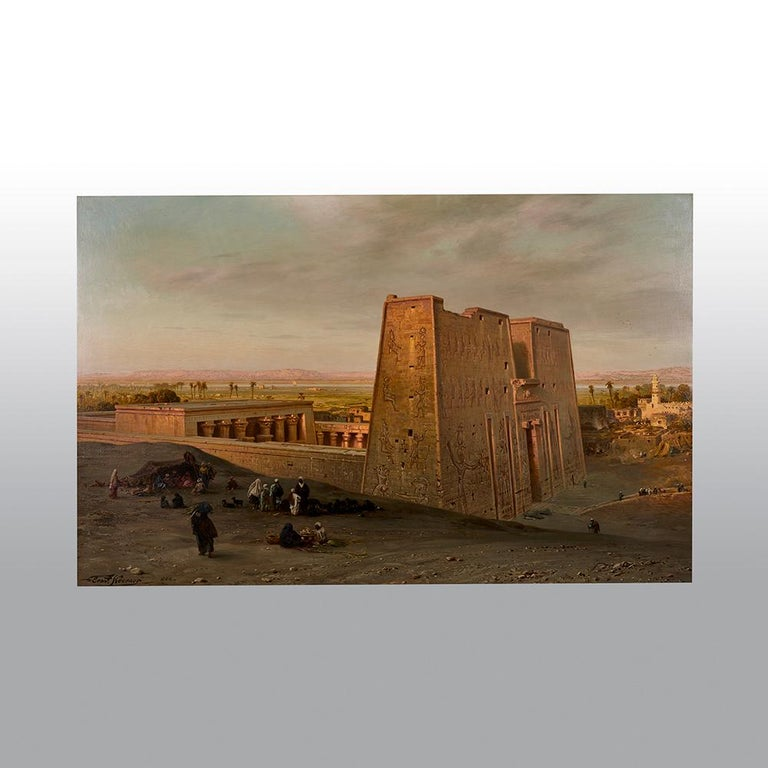 Ernst Karl Koerner  (1846-1927)   Temple of Horus at Edfu  Oil on canvas Measures: 54 x 36 inches Signed and dated lower left Ernst Koerner 1888  Provenance Private collection, acquired at Spinks, 1969   This exceptional painting
