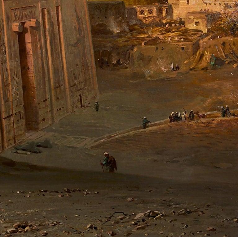 Orientalist Painting of the Temple of Horus at Edfu, by Ernst Karl Koerner, 1888 For Sale 1