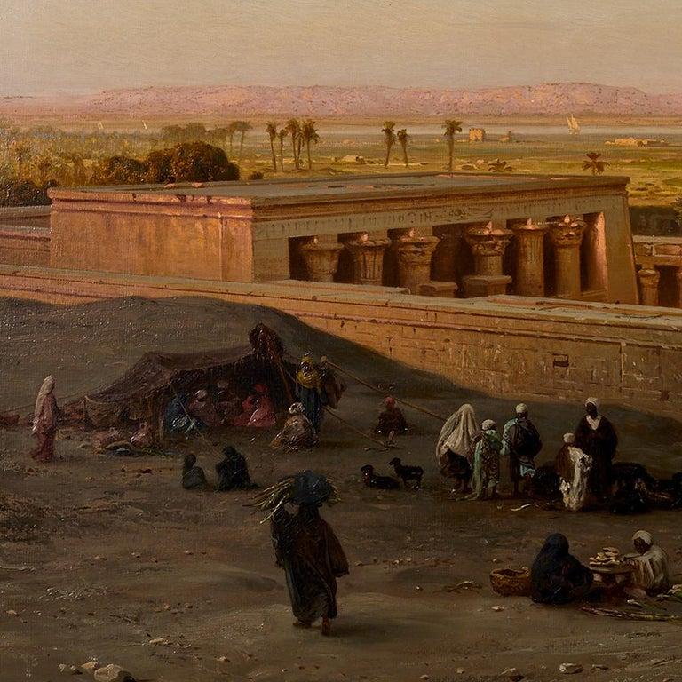 Painted Orientalist Painting of the Temple of Horus at Edfu, by Ernst Karl Koerner, 1888 For Sale