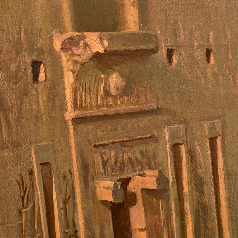Canvas Orientalist Painting of the Temple of Horus at Edfu, by Ernst Karl Koerner, 1888 For Sale