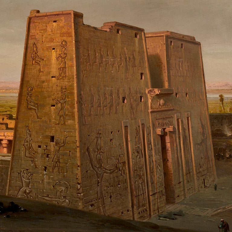 Orientalist Painting of the Temple of Horus at Edfu, by Ernst Karl Koerner, 1888 In Excellent Condition For Sale In Uckfield, Sussex