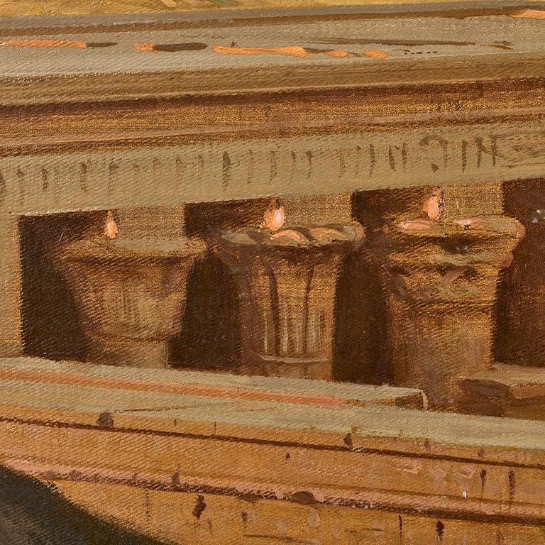 Orientalist Painting of the Temple of Horus at Edfu, by Ernst Karl Koerner, 1888 For Sale 3