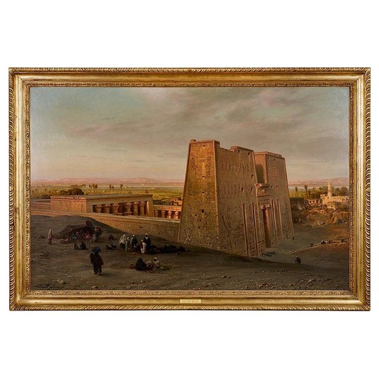 Orientalist Painting of the Temple of Horus at Edfu, by Ernst Karl Koerner, 1888 For Sale