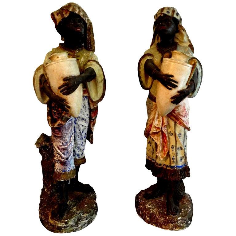 Orientalist Pair of Polychromed Plaster Arabesque Figures For Sale
