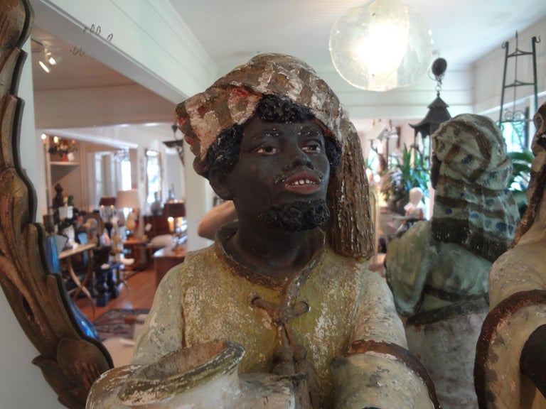 Moorish Orientalist Pair of Polychromed Plaster Arabesque Figures For Sale