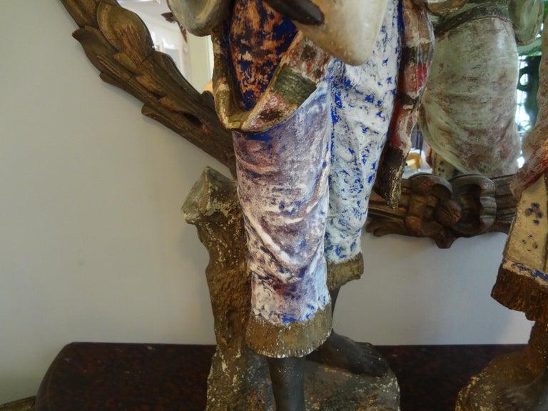20th Century Orientalist Pair of Polychromed Plaster Arabesque Figures For Sale