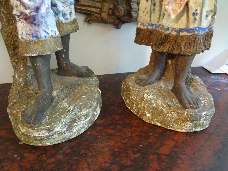 Orientalist Pair of Polychromed Plaster Arabesque Figures For Sale 4