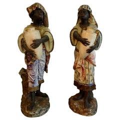 Orientalist Pair of Polychromed Plaster Moorish Figures