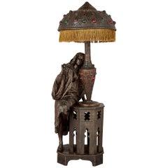 Orientalist Spelter Lamp with Female Figure