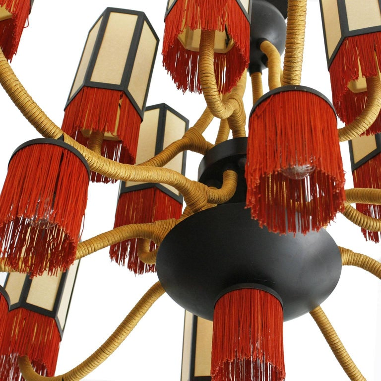 Late 20th Century Orientalist Style with Cotton Fringes French Suspension Lamp For Sale