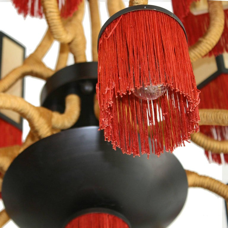 Metal Orientalist Style with Cotton Fringes French Suspension Lamp For Sale