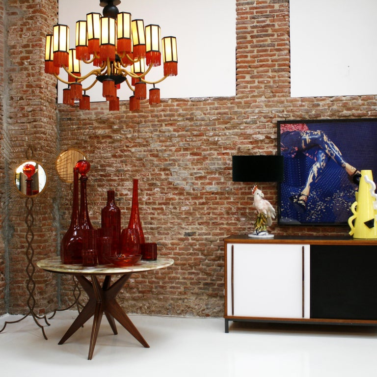 Orientalist Style with Cotton Fringes French Suspension Lamp For Sale 1