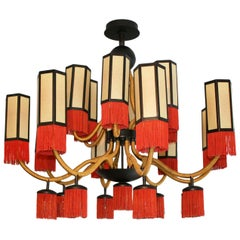 Orientalist Style with Cotton Fringes French Suspension Lamp