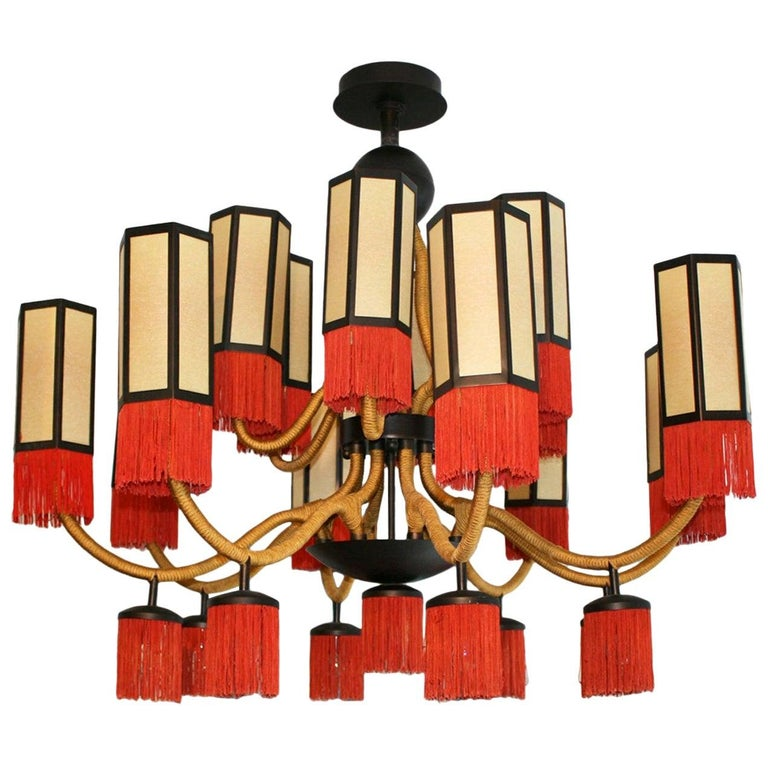 Orientalist Style with Cotton Fringes French Suspension Lamp For Sale