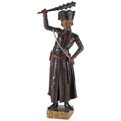 Orientalist Turkomania Wood Sculpture of an Ottoman, Early 19th Century