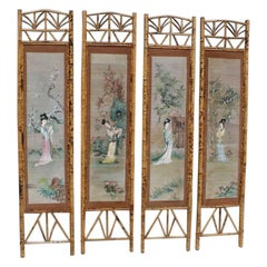 Orientalist Wall Decoration Bamboo Geisha Painting 1950 Mid-Century Italian