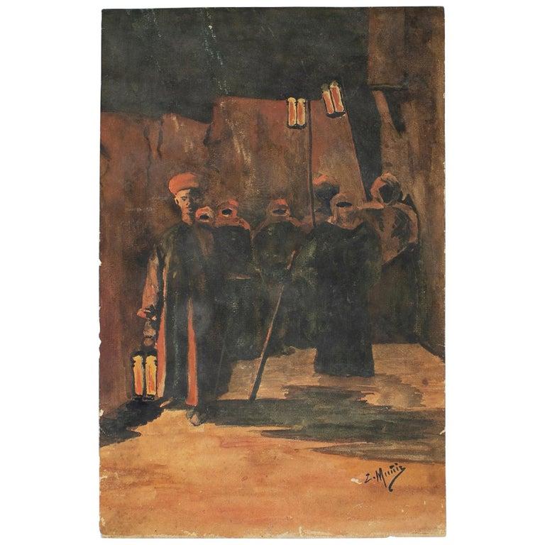 "Orientalist Watercolor Drawing Signed ""Muñiz"" For Sale"