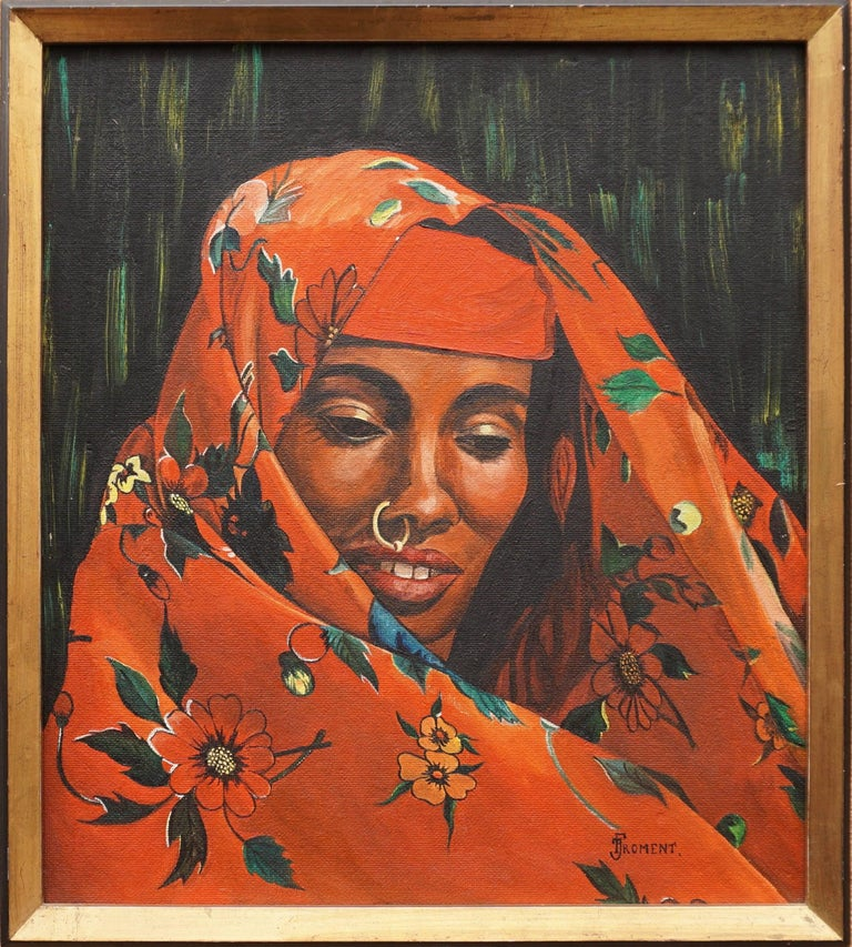 Orientalistic painting of a woman by J Froment. Measures: Height 64 cm. Width 59 cm.
