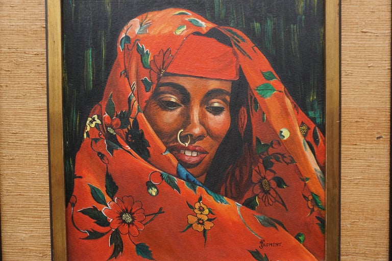 Mid-Century Modern Orientalistic Painting of a Woman by J Froment For Sale