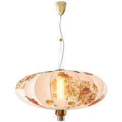 ORIENTE Modern Ceiling Pendant Lamp in Brass and Printed Silk by Dimoremilano
