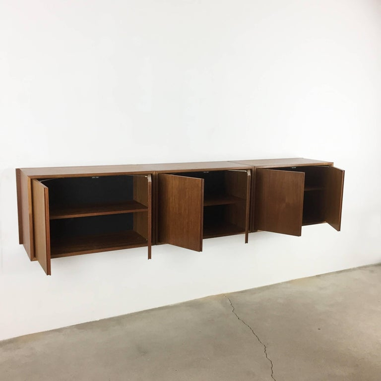 Original 1960s Floating Modular Teak Wall Unit by Poul Cadovius for Cado Denmark For Sale 7