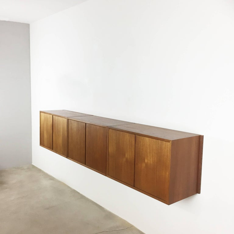 Mid-Century Modern Original 1960s Floating Modular Teak Wall Unit by Poul Cadovius for Cado Denmark For Sale