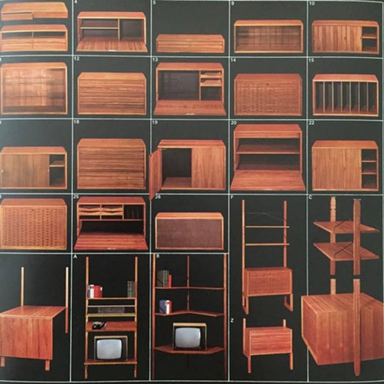 Original 1960s Floating Modular Teak Wall Unit by Poul Cadovius for Cado Denmark In Good Condition For Sale In Kirchlengern, DE